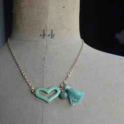 Collier coeur vert
